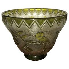 Daum Nancy Bird Art Deco Acid Etched French Monumental Museum Glass