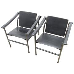 Pair of Black Le Corbusier LC1 Style Chairs
