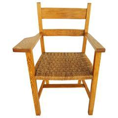 1950s Oak and Raffia Woven Armchair