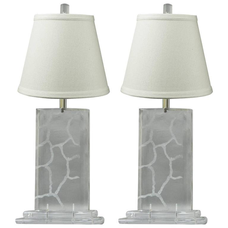 Pair Of Van Teal Clear Lucite Sculptural Mid Century Modern Vintage Table Lamps