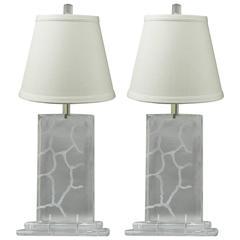 Pair of Van Teal Clear Lucite Sculptural Mid-Century Modern Vintage Table Lamps