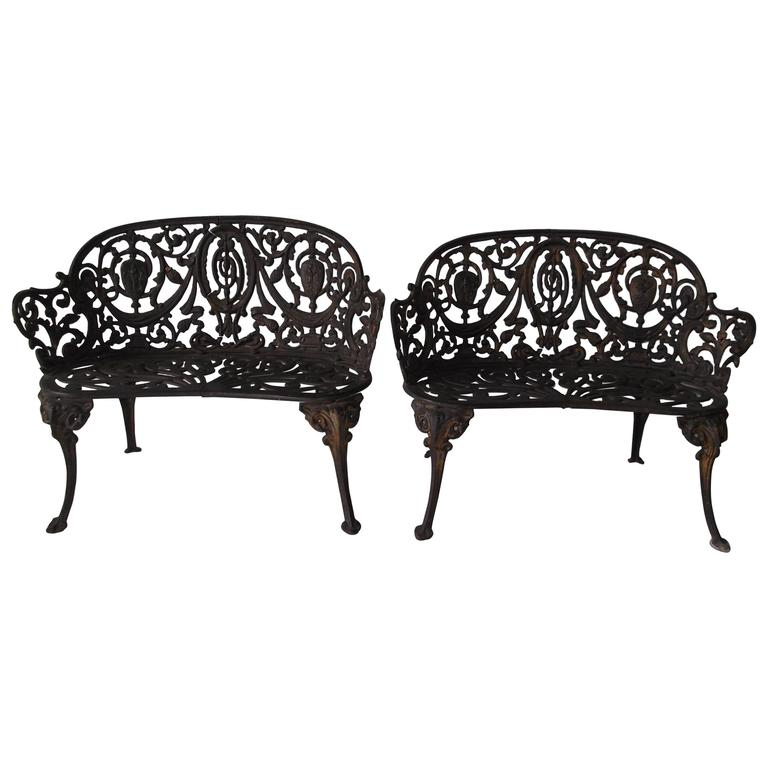 Pair Of Antique Ornate Cast Iron Diminutive Garden Bench Seats At 1stdibs
