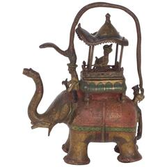 Folky Antique Anglo Indian Style Bronze Water Pitcher