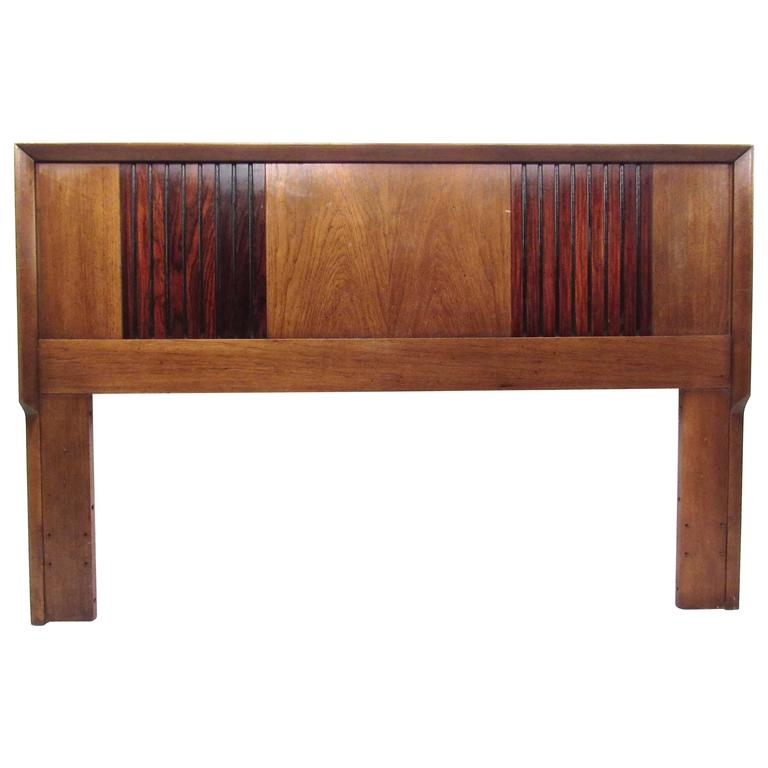 Mid-Century Modern Rosewood and Walnut Queen-Size Bed Headboard
