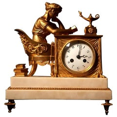 Empire Ormolu Mantel Clock 'La Liseuse' on Marble Stepped Base 19th Century