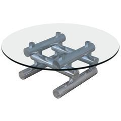 1970s Stacked Aluminum Italian Coffee Table