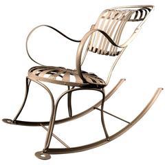 Francois Carré Spring Sunburst Iron Rocking Chair, 20th Century
