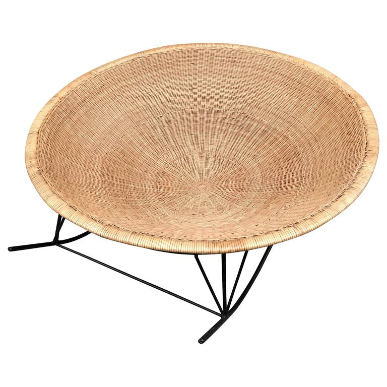 Large Rattan Basket and Iron Modernist Rocking Lounge 1