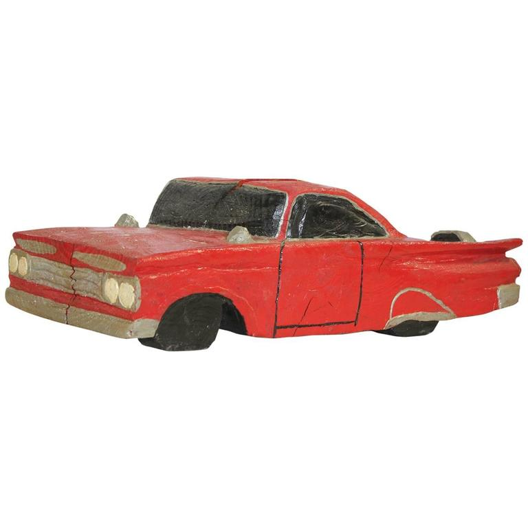 Vintage American Hand-Carved Wood Car Silhouette For Sale at 1stdibs