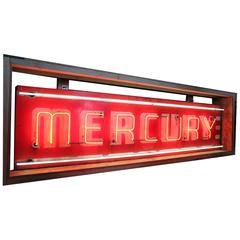 1950s American Neon and Porcelain Mercury Sign