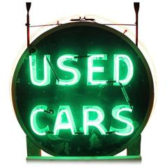 "1950s Double-Sided Hand-Painted Metal and Neon Sign ""Used Cars"""