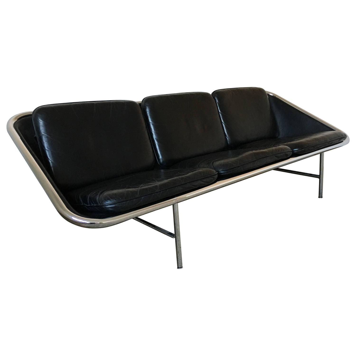 George Nelson Black Leather Sling Sofa Herman Miller circa 1960
