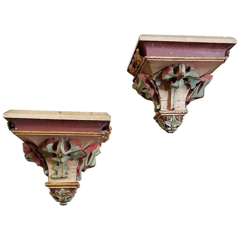Pair of Grand Carved French Wood Hand-Painted Gothic Shelves Sconces