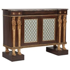 English Regency Egyptian Revival Side Cabinet or Credenza