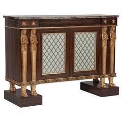 English Regency Egyptian Revival Side Cabinet or Credenza