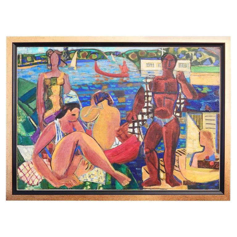 """Bathers,"" Large Masterpiece of Vivid Cubist Painting by Louis Latapie, 1940s For Sale"