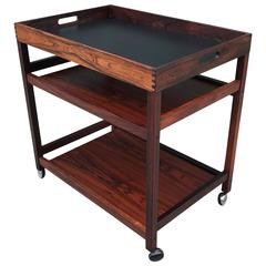 Danish Rosewood Serving or Bar Cart with Removable Tray Top