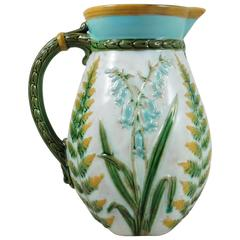 19th Century Victorian Majolica Bluebells and Ferns Pitcher