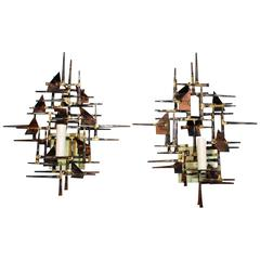 Elegant Pair of 1970's  Hand-Forged Brutalist Sconces by Silas Seandel