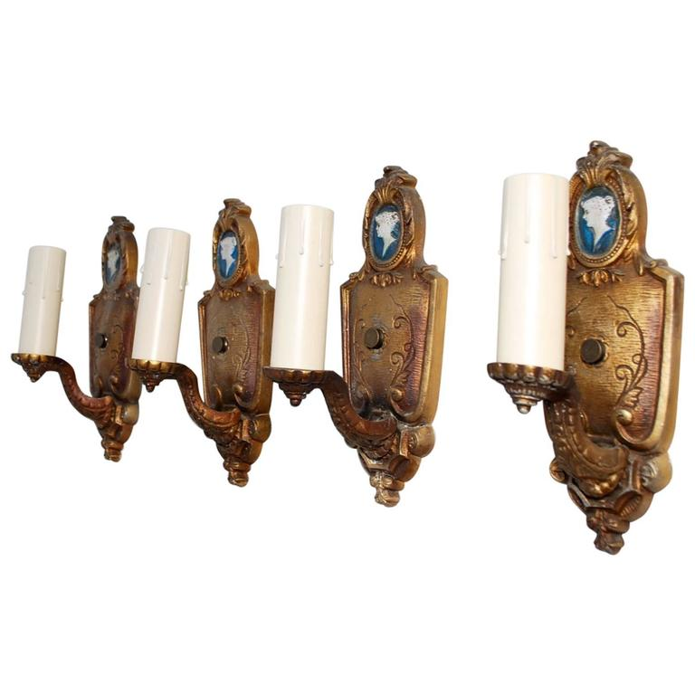 Elegant Set of Four 1920s Sconces
