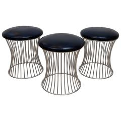 Set of Three Chrome Stools