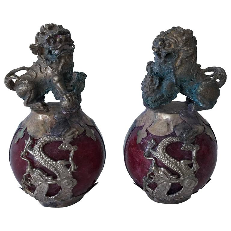Red Bronze Stone : Th century bronze foo dogs and dragons on red stone