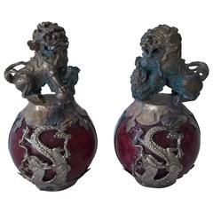 19th Century Bronze Foo Dogs and Dragons on Red Stone, Pair
