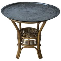 Mid-Century Tray Table on Bamboo and Rattan Base