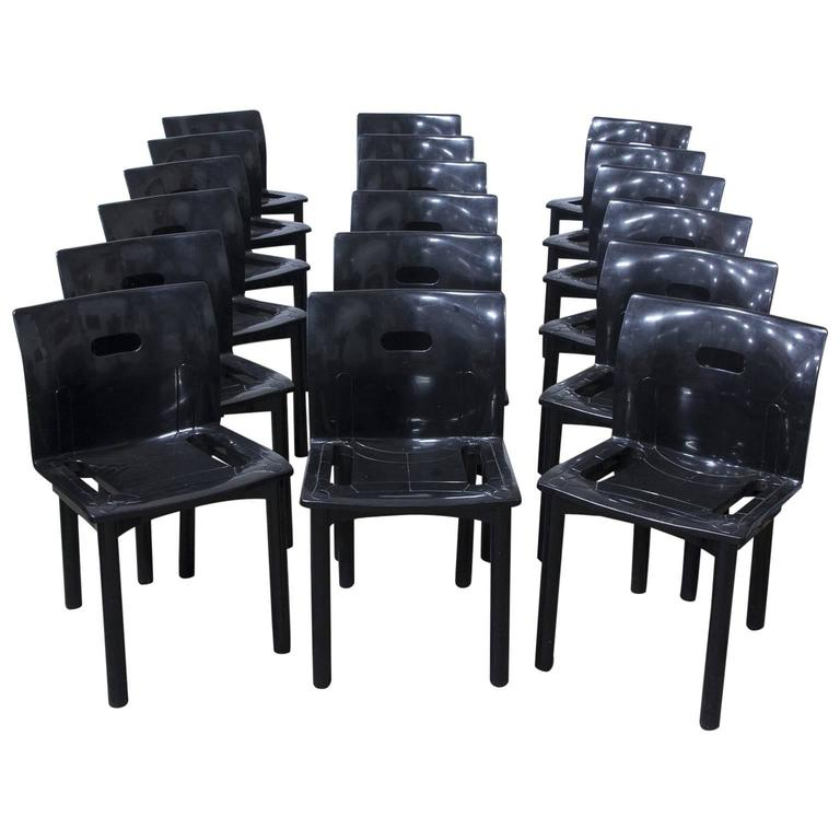 1986, Anna Castelli Ferrieri, Plastic Stacking Chairs 4870 For Kartell In  Black For Sale