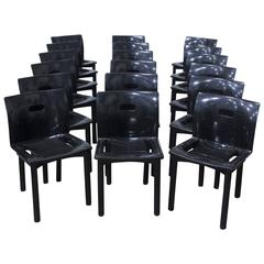 1986, Anna Castelli Ferrieri, Plastic Stacking Chairs 4870 for Kartell in Black