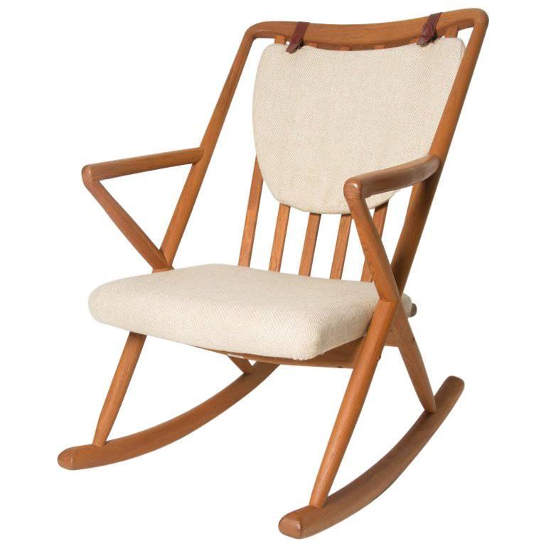Captivating Benny A. Linden Vintage Honey Teak And Cream Danish Rocking Chair For Sale