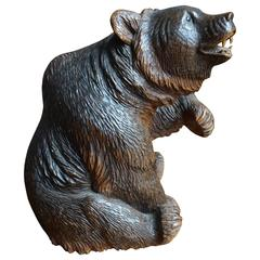 Antique Top Quality Carved Black Forest Bear Sculpture and Striking Deskpiece