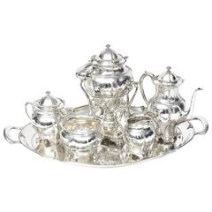 Victorian Tiffany & Co Sterling Tea Coffee Set with Tiffany Sterling Tray