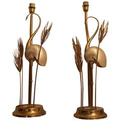 Hollywood Regency  Gilded Brass Crane Lamps by Antonio Pavia 1970