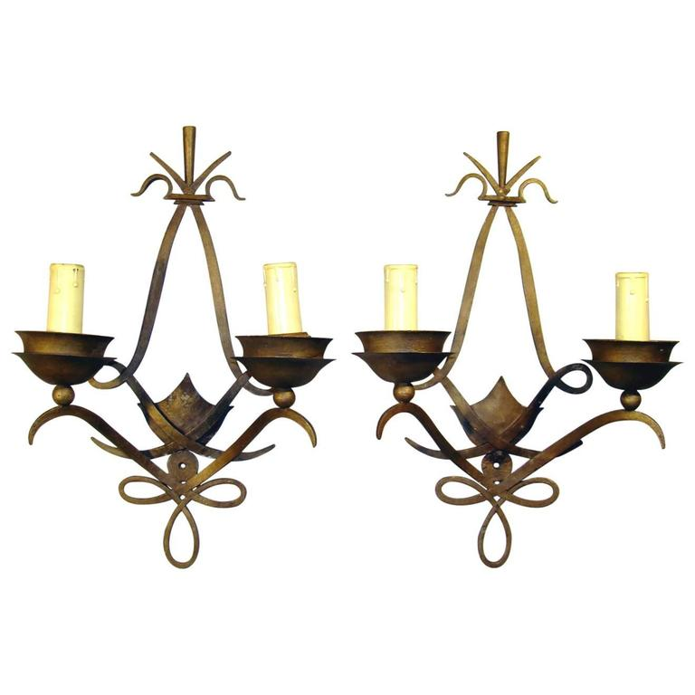 Pair of Art Deco Poillerat Style Wall Sconces, French, 1940s