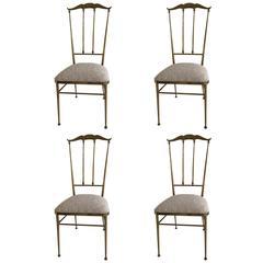 Maison Jansen Set of Four Brass Chairs, circa 1950