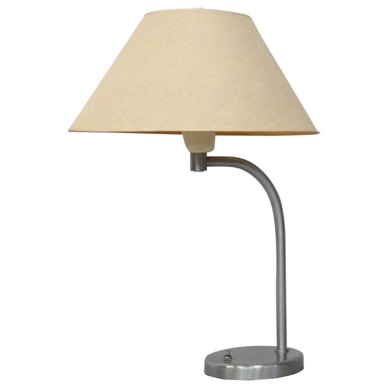 Walter Von Nessen Art Deco Brushed Chrome Desk Lamp