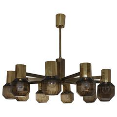 Brass Smoked Glass Chandelier in the Style of Hans-Agne Jakobsson