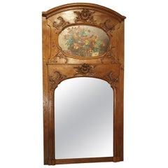 19th Century French Oak Trumeau Mirror
