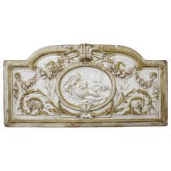 19th Century Cherub with Rose Swag Overdoor Decorative Panel