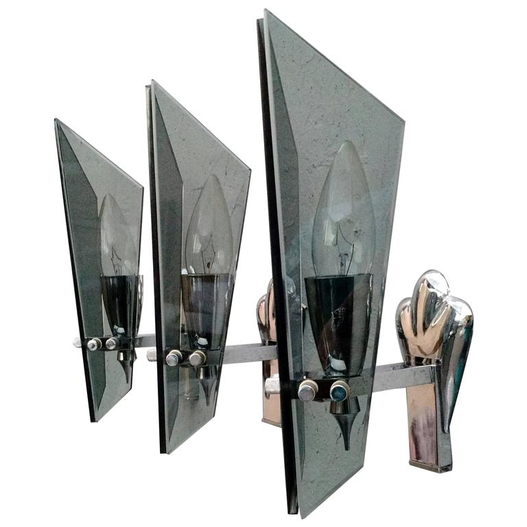 1960s Attributed Fontana Arte Italy Glass Sconces
