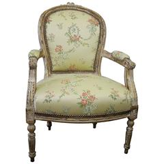 Antique Louis XVI Style Giltwood Upholstered Open Armchair