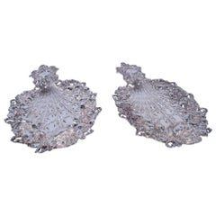 Pair of Fabulous Art Nouveau Peacock Sterling Silver Trays by Tiffany