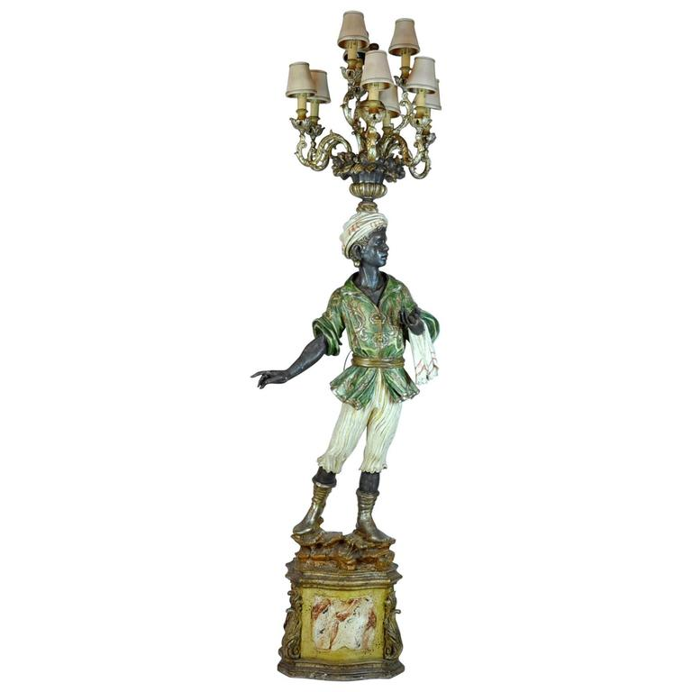 Italian Carved Polychrome Paint and Parcel-Gilt Blackamoor Torchiere Candelabra 1