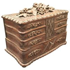 19th Century Carved Jewelry, Treasure Box, Cabinet and Seven Drawers