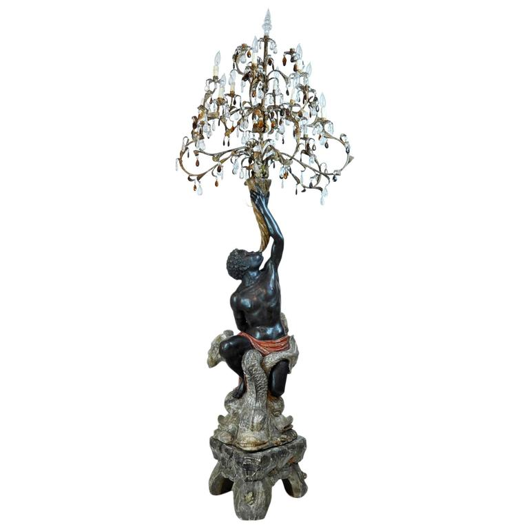Superior Venetian Carved Paint and Parcel-Gilt Blackamoor Torchiere Candelabra