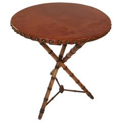 Faux Bamboo Leather Top Cricket or Side Table, circa 1870