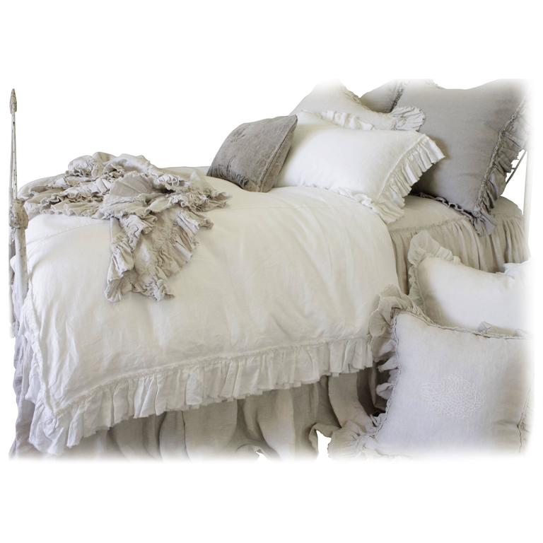 Pure Irish Linen Bedding Vintage Ruffle Duvet Cover For