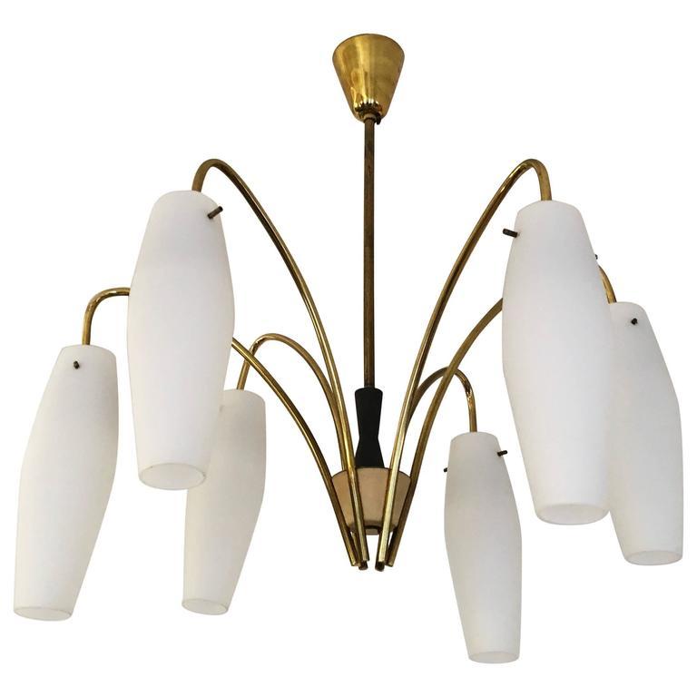 Mid-Century Brass Chandelier in Stilnovo Style