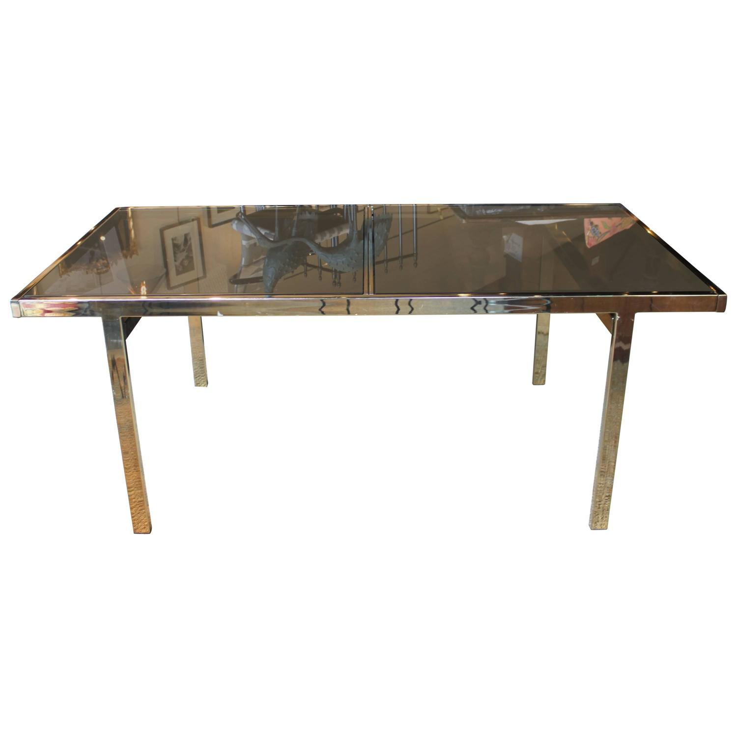 Mid Century Modern Milo Baughman Metal And Glass Dining Table For Sale At 1st